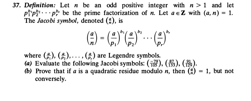 Solved 37 Definition Let N Be An Odd Positive Integer W