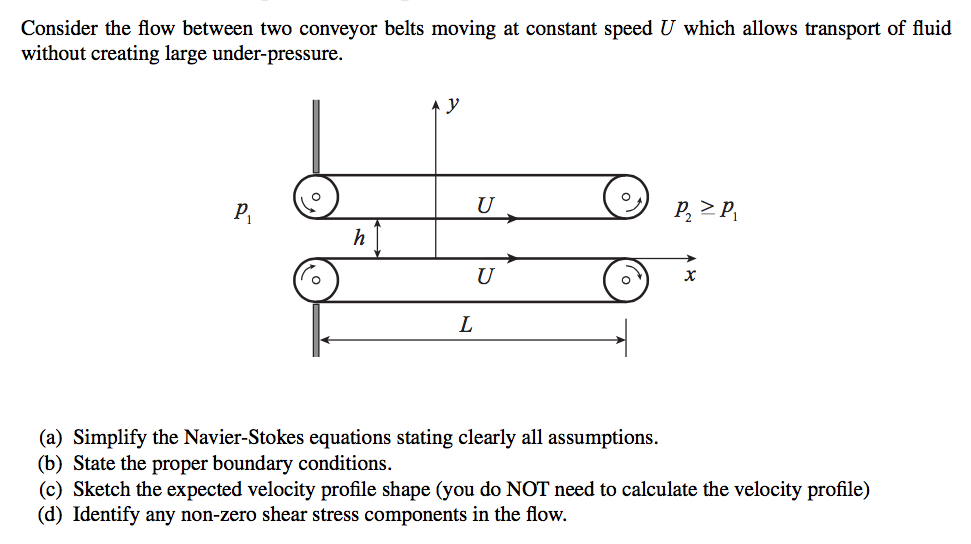 Solved: Consider The Flow Between Two Conveyor Belts Movin