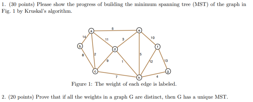 06157b258a4 1. (30 points) Please show the progress of building the minimum spanning  tree
