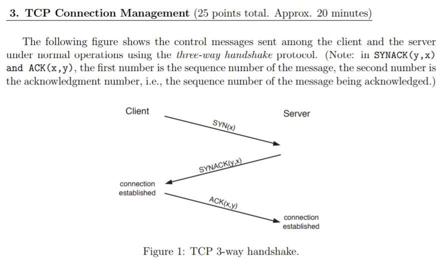 3. TCP Connection Management (25 Points Total. App... | Chegg.com
