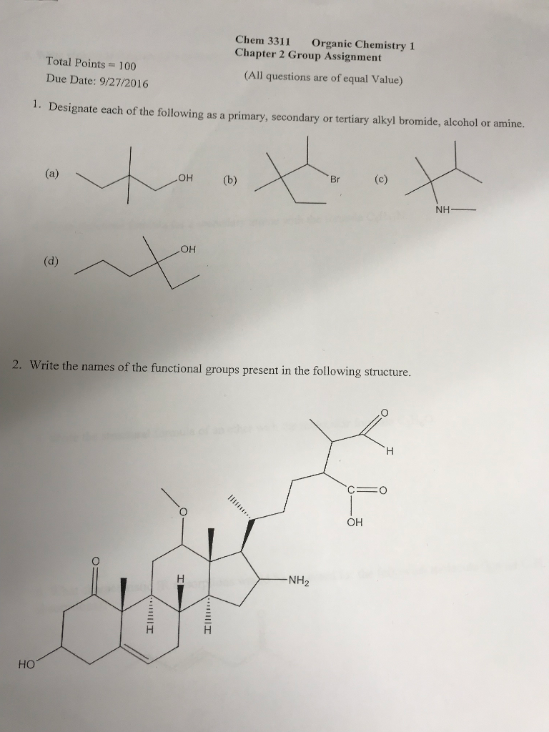 Solved: Chem 3311 Organic Chemistry 1 Chapter 2 Group Assi