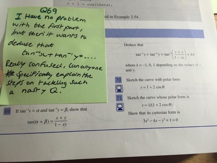 Solved R 1 Cos Theta Q69 Z Haue Ne Problem I Have N