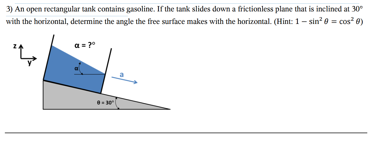 Solved: An Open Rectangular Tank Contains Gasoline  If The