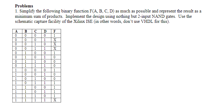 Problems 1. Simplify the following binary function F(A, B, C, D) as much as possible and represent the result as a minimum sum of products. Implement the design using nothing but 2-input NAND gates. Use the schematic capture facility of the Xilinx ISE (in other words, dont use VHDL for this) 0 0 0 X 111X
