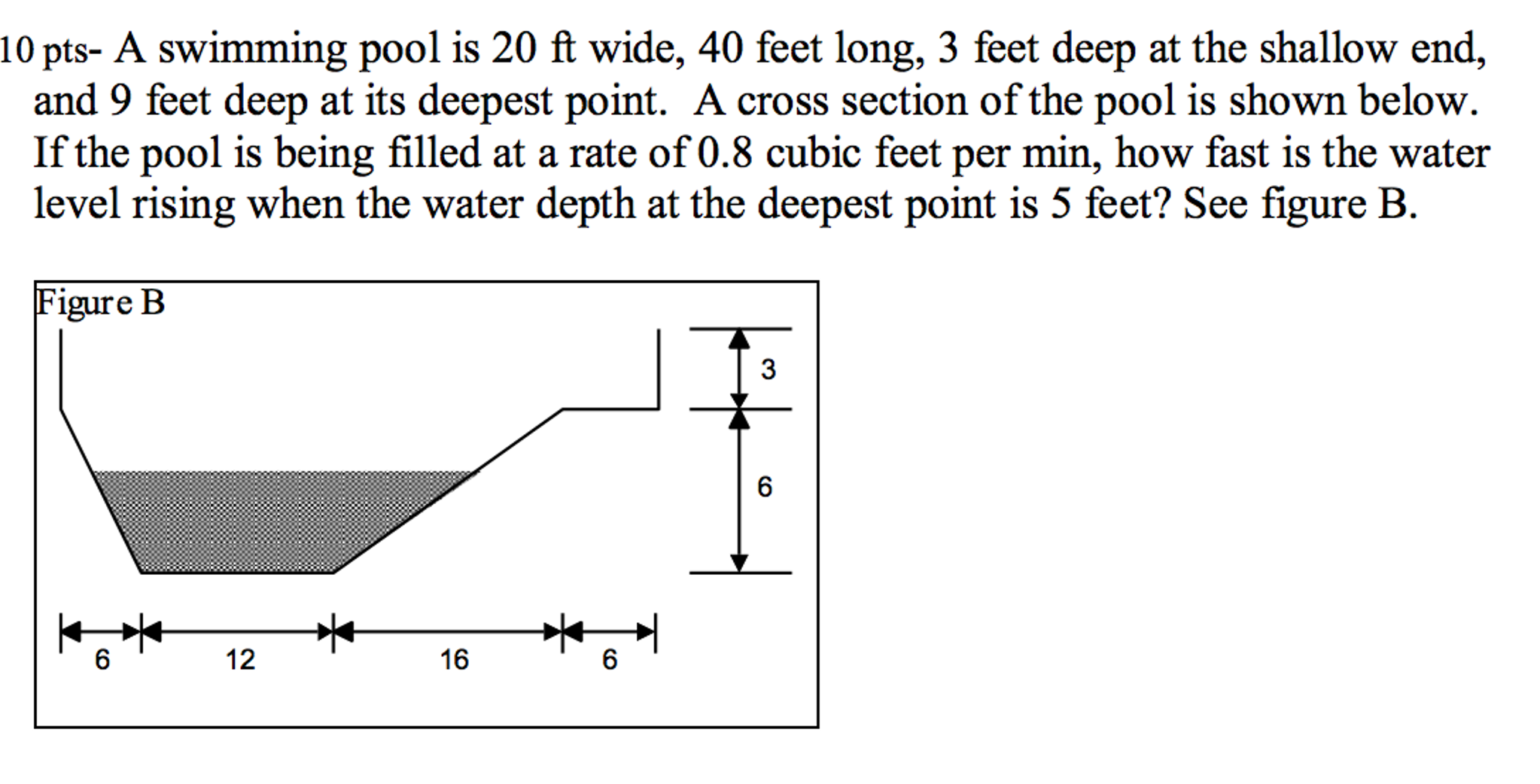 Solved a swimming pool is 20 ft wide 40 feet long 3 fee - A rectangular swimming pool is 30 ft wide ...