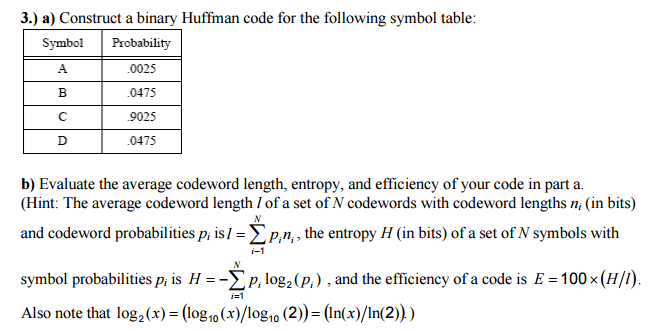 3 A Construct A Binary Huffman Code For The Fol Chegg
