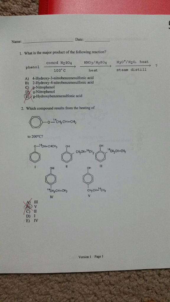 Chemistry archive march 01 2017 chegg date name 1 what is the major product of the following reaction concd h2so4 fandeluxe Images