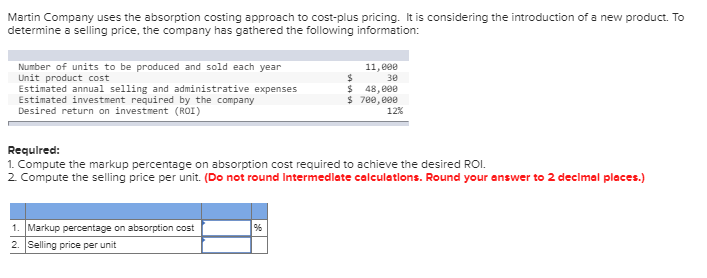 absorption costing approach