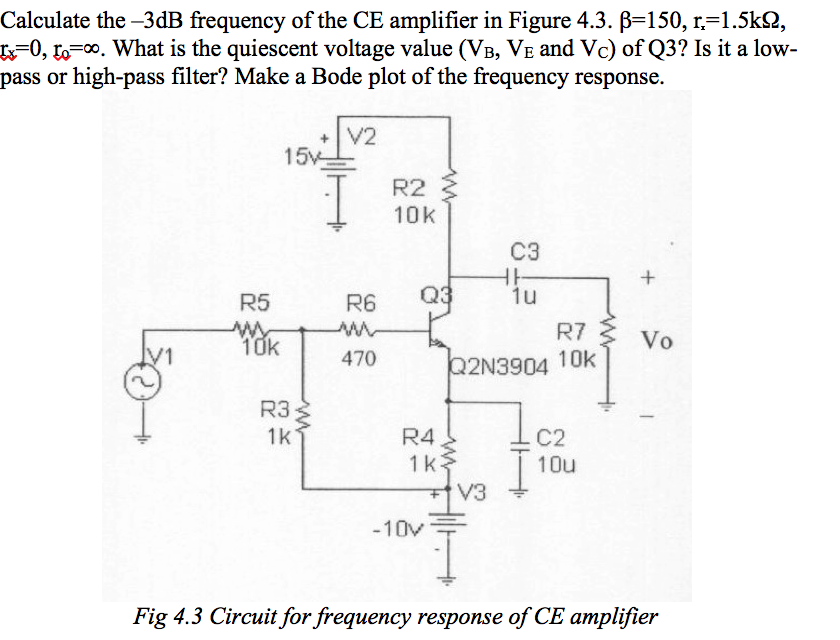 Calculate The -3dB Frequency Of The CE Amplifier I