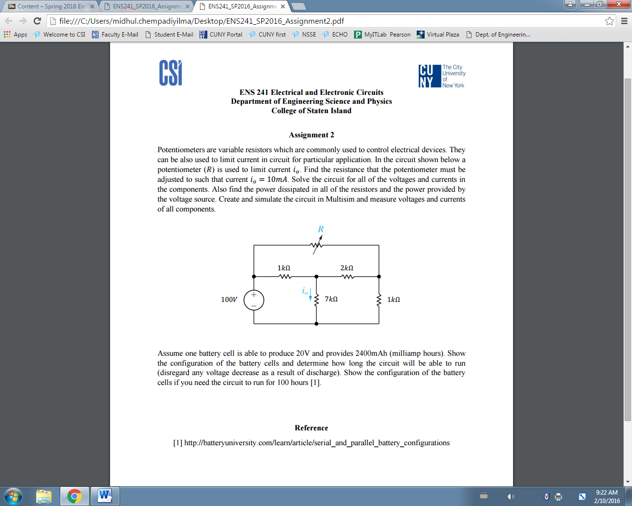 Solved Ens241 Sp2016 Assignme X D Electronic Circuits And Systems Pdf Question Bb Spring 2016 El C File Users Midhulchempad