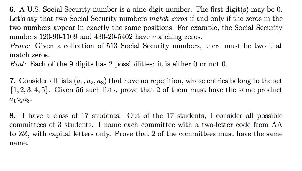 Solved: 6  A U S  Social Security Number Is A Nine-digit N