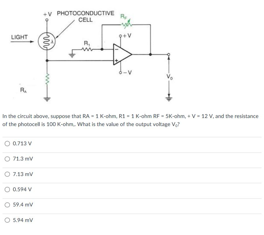 Solved: In The Circuit Above, Suppose That RA = 1 K-ohm, R ...