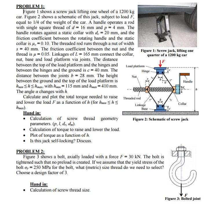 figure 1 shows a screw jack lifting one wheel of a chegg com rh chegg com