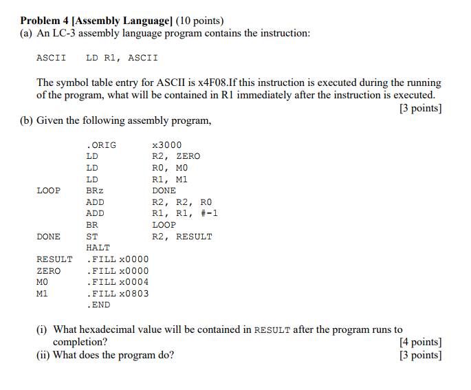 Solved Problem 4 Assembly Language 10 Points A An Lc