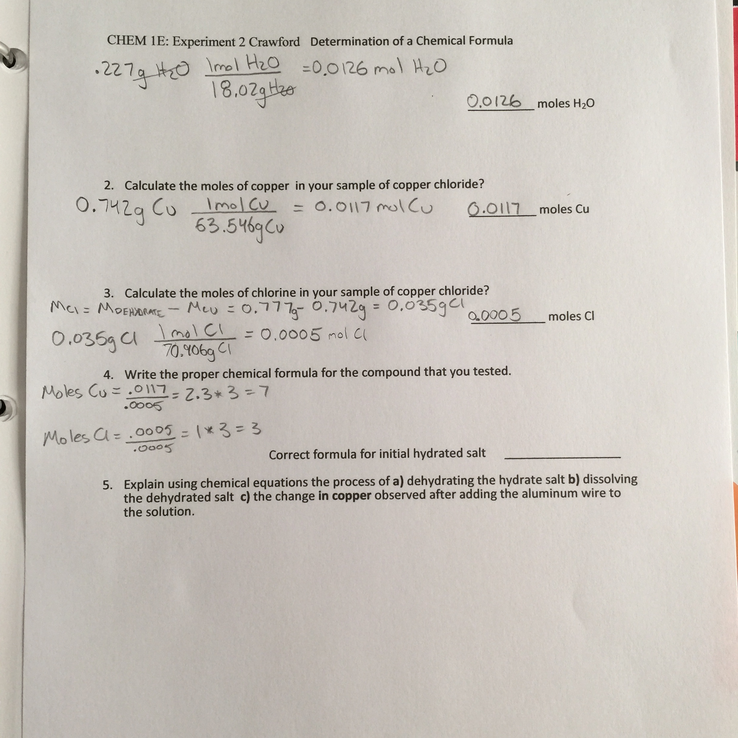 determination of a chemical formula