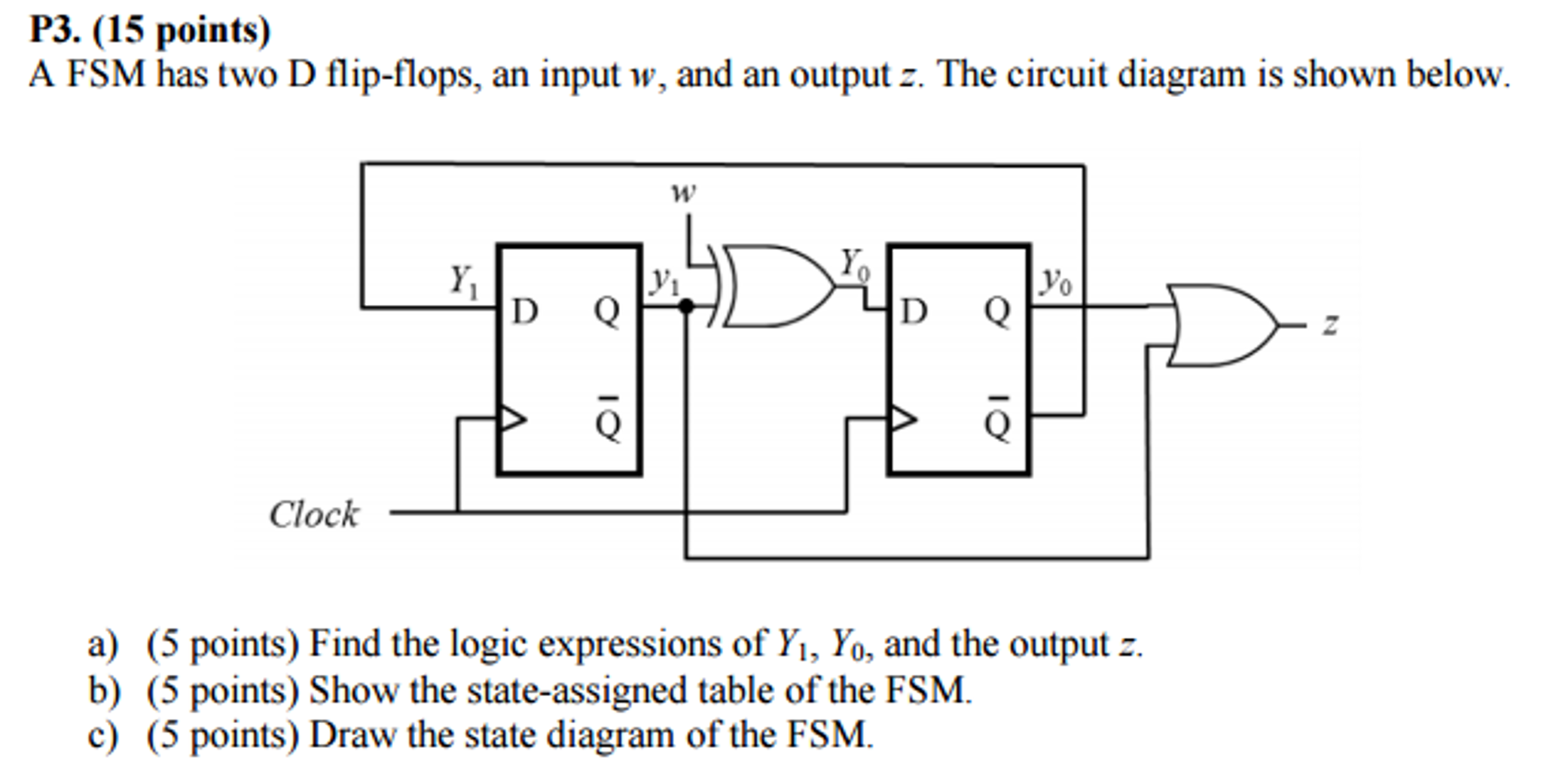 Solved A Fsm Has Two D Flip Flops An Input W And Out Circuit Diagram Of