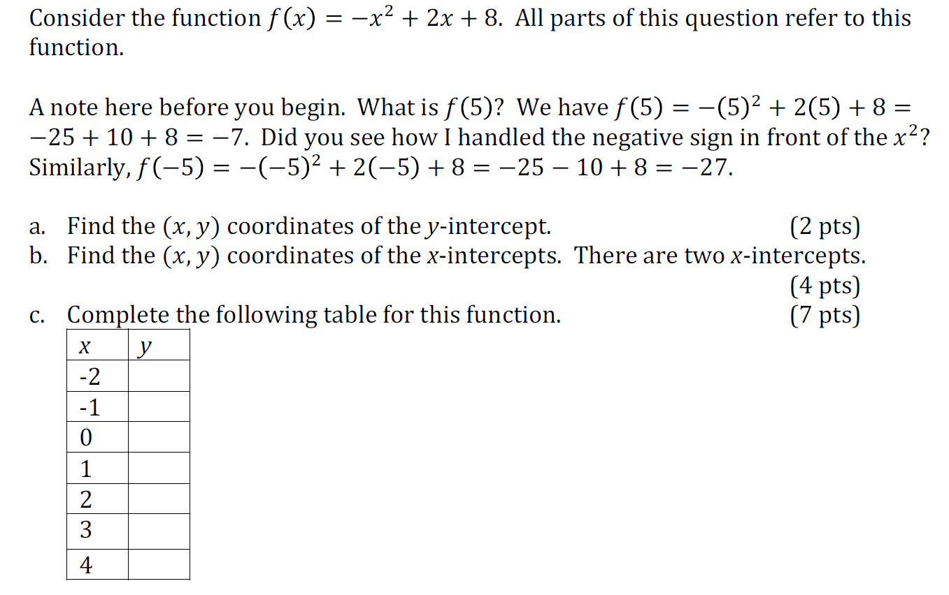 Consider The Function F(x) = X^2 + 2x + 8