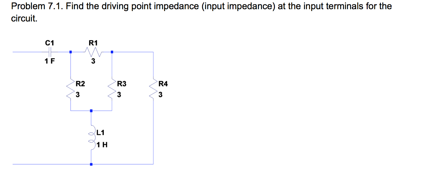 Find the driving point impedance (input impedance)