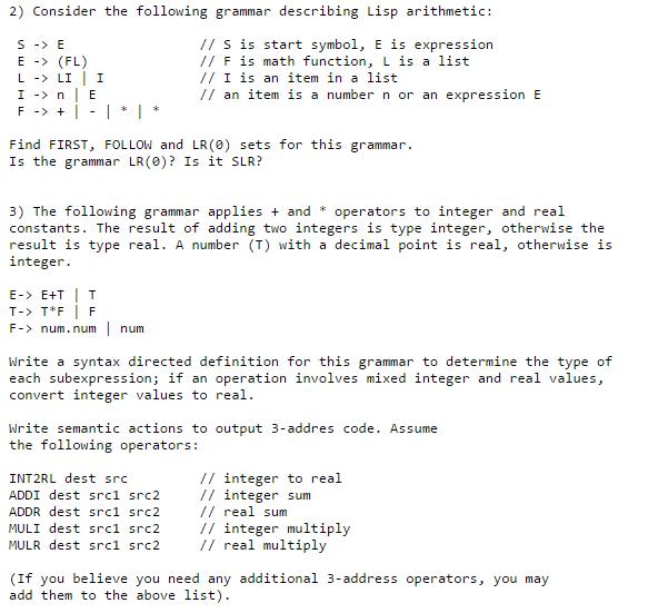 Consider The Following Grammar Describing Lisp Ari Chegg