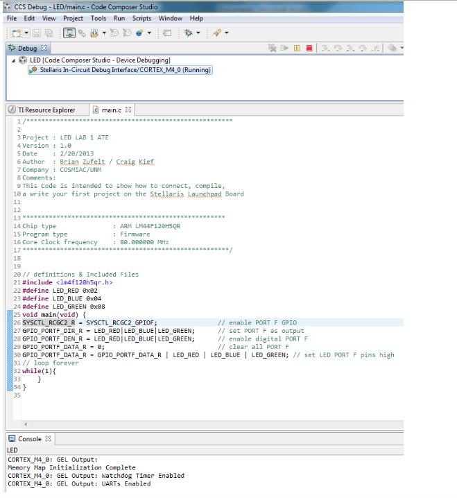 Solved: CCS Debug - LED/main c-Code Composes File Edit Vie