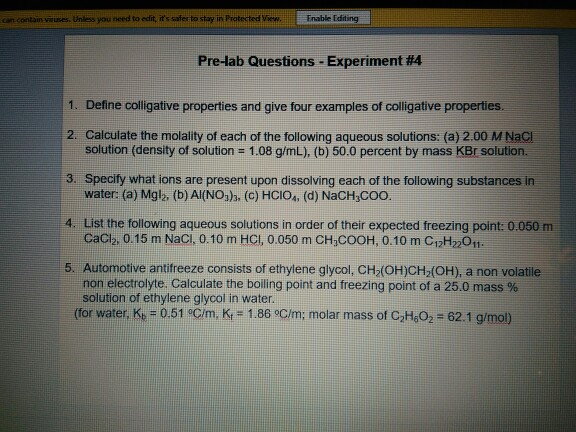 Solved Define Colligate Properties And Give Four Examples