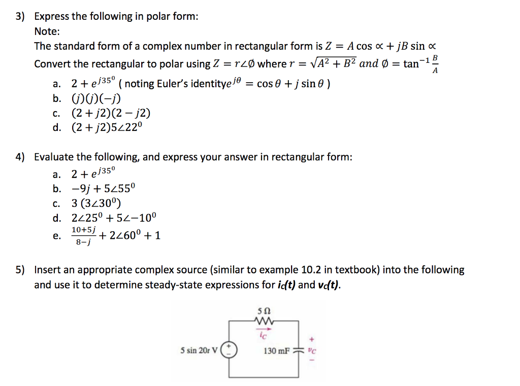 Solved 3 Express The Following In Polar Form Note The