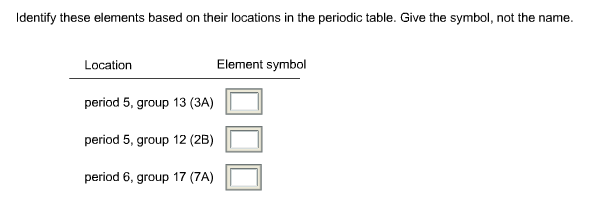Solved Identify These Elements Based On Their Locations I
