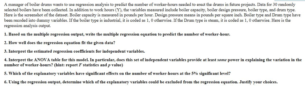 Solved: A Manager Of Boiler Drums Wants To Use Regression ...