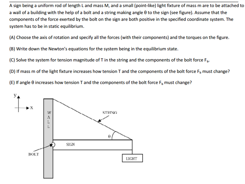 Solved: A Sign Being A Uniform Rod Of Length L And Mass M