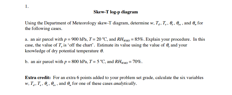 Solved Any Skew T Diagram Will Work To Answer This Questi