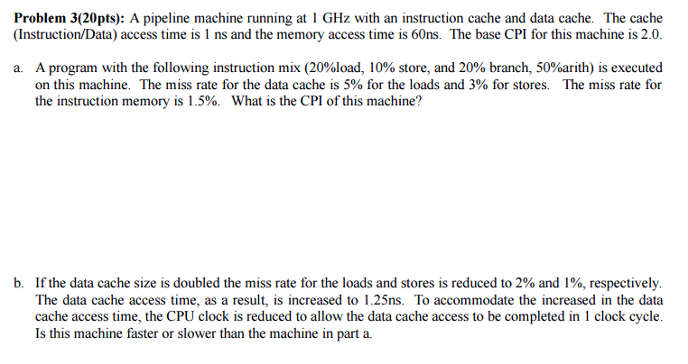 Solved A Pipeline Machine Running Al 1 Ghz With An Instru