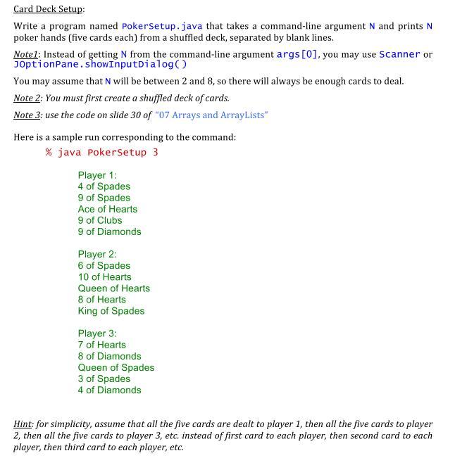 Solved Write A Program Named Pokersetup Java That Takes Chegg Com