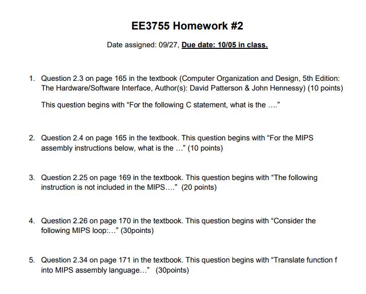 Ee3755 Homework 2 Date Assigned 09 27 Due Date Chegg Com