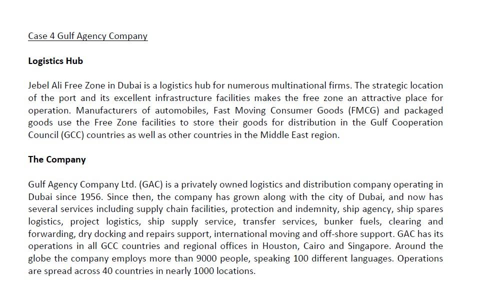Solved: Case 4 Gulf Agency Company Logistics Hub Jebel Ali