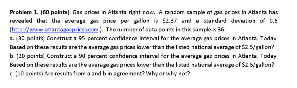 Atlanta Gas Prices >> Solved Problem 1 60 Points Gas Prices In Atlanta Righ
