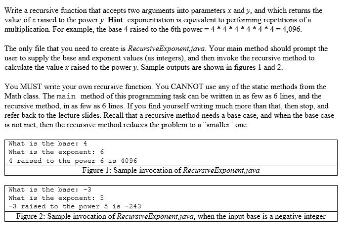 Solved: Write A Recursive Function That Accepts Two Argume