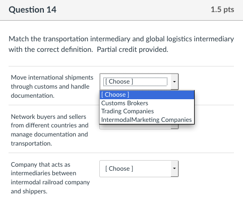 Solved: Question 14 1 5 Pts Match The Transportation Inter