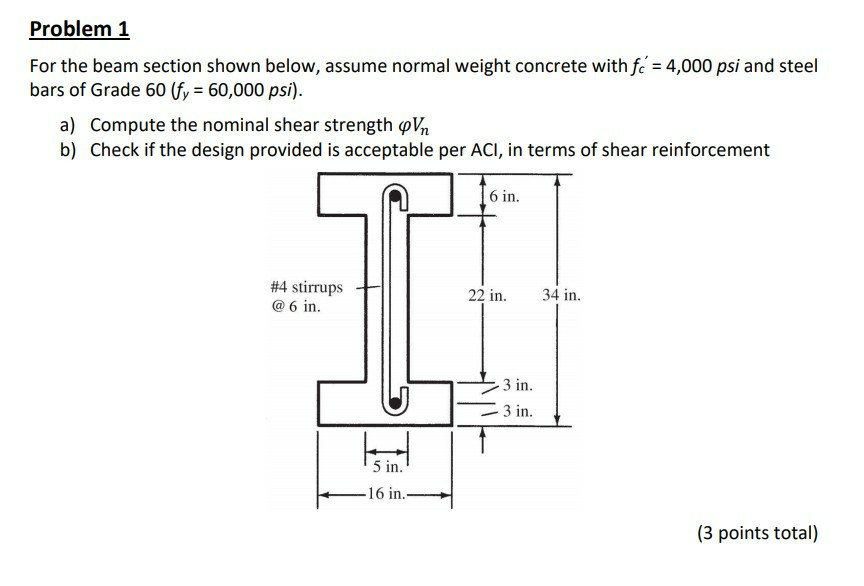 Civil engineering archive november 14 2017 chegg problem 1 for the beam section shown below assume normal weight concrete with fc fandeluxe Images