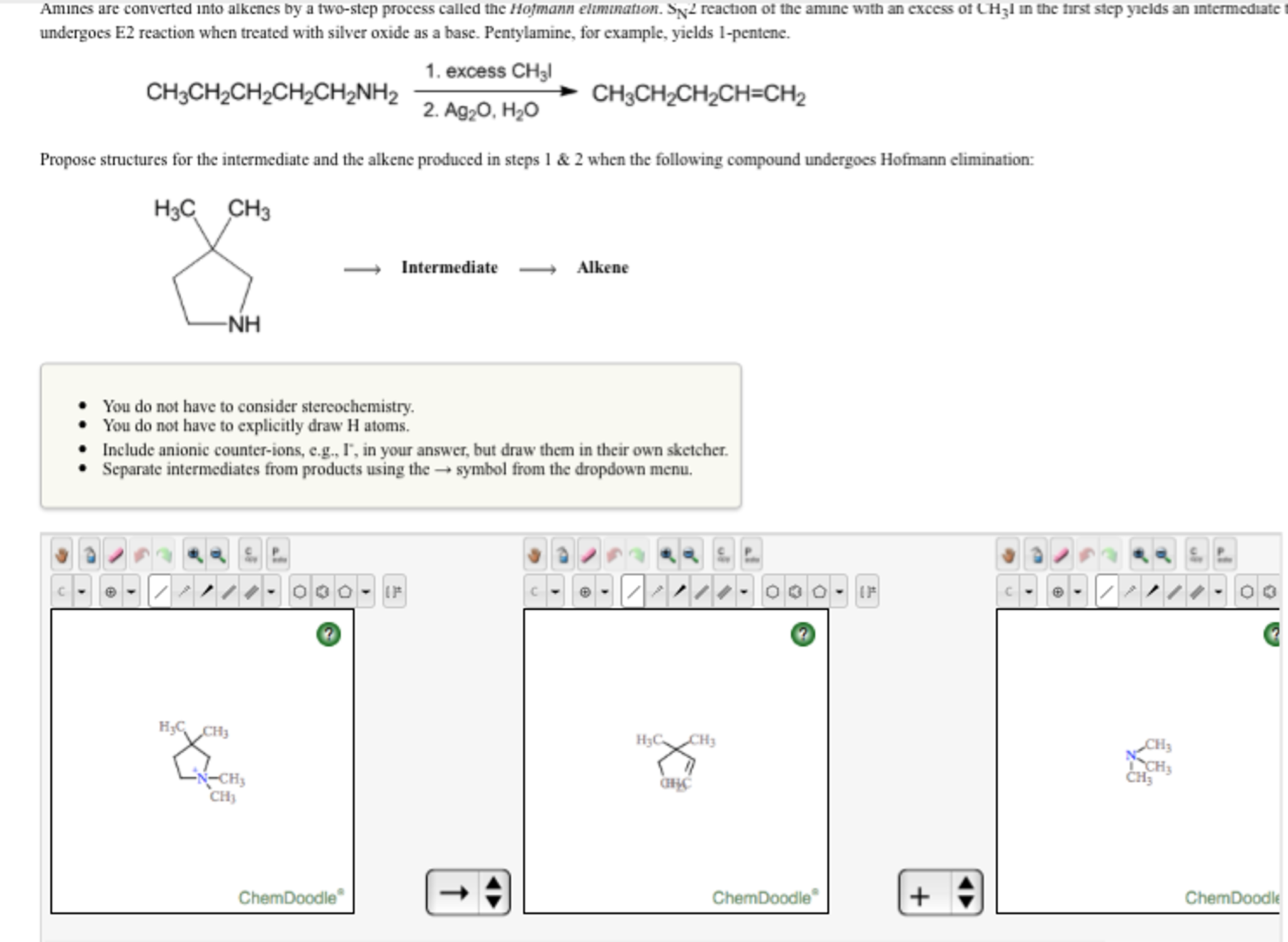 Solved: Amines Are Converted Into Alkenes By A Two-step Pr