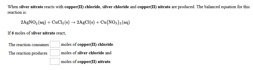 Solved When Silver Nitrate Reacts With Copperii Chlorid