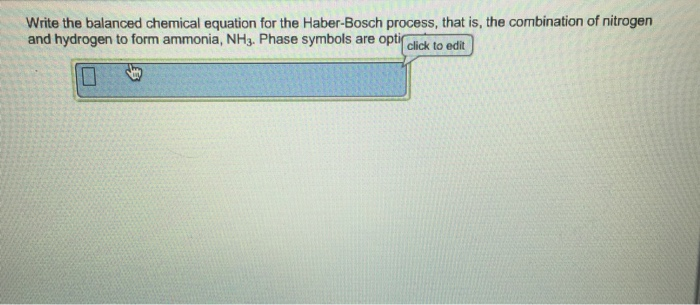 Solved Write The Balanced Chemical Equation For The Haber