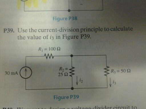 Figure P38 Use the current-division principle to