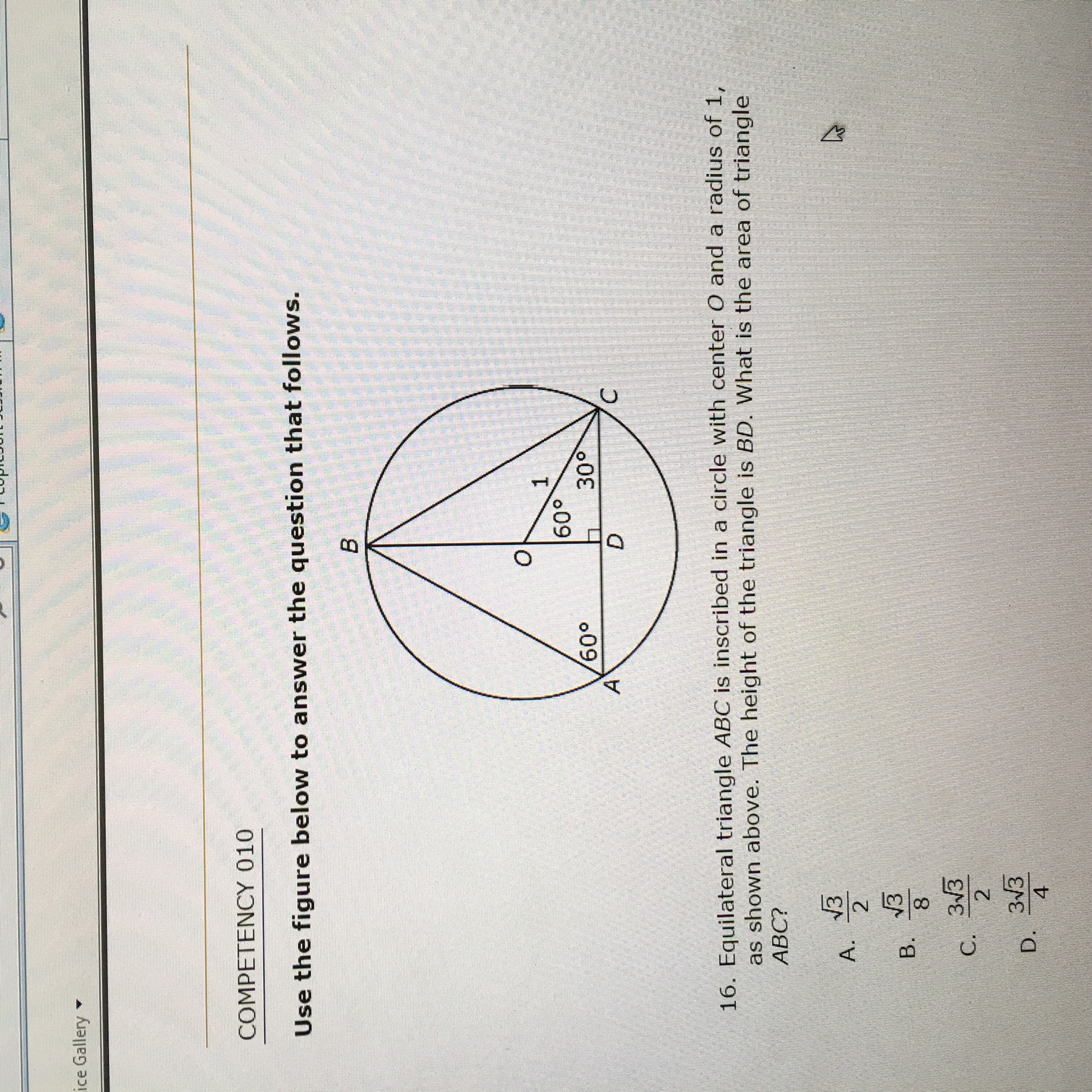 Solved Equilateral Triangle Abc Is Inscribed In A Circle