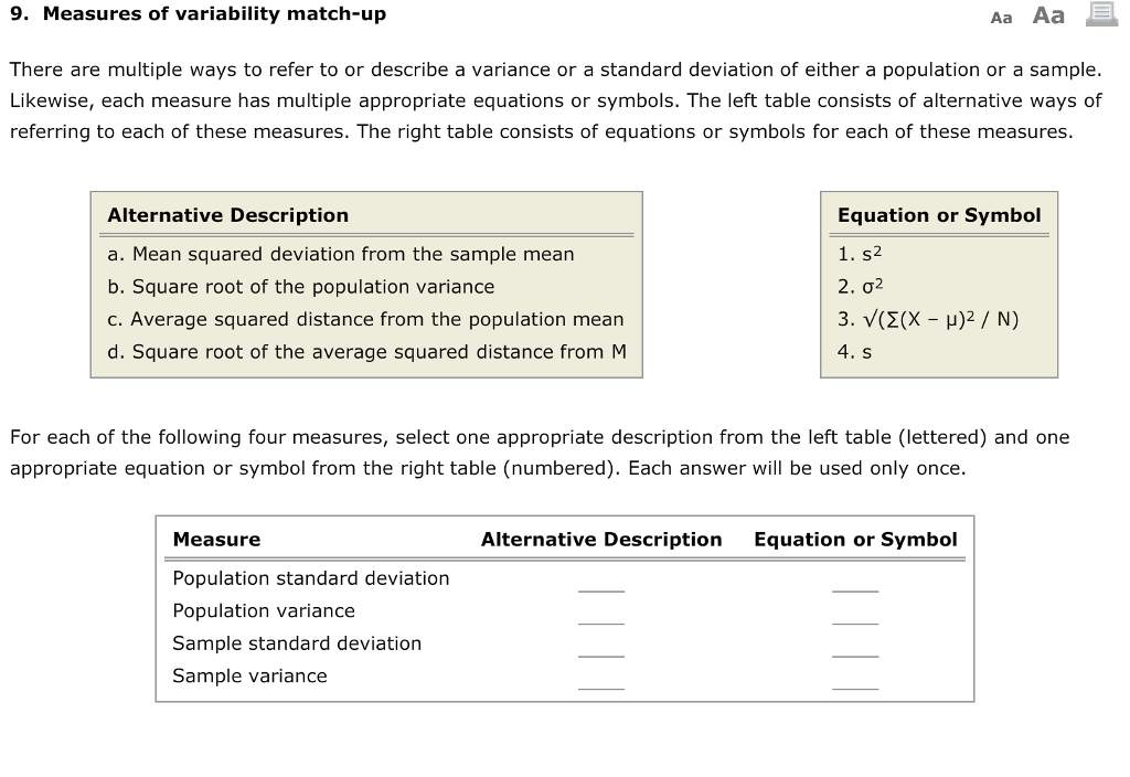 Solved 9 Measures Of Variability Match Up Aa Aa There