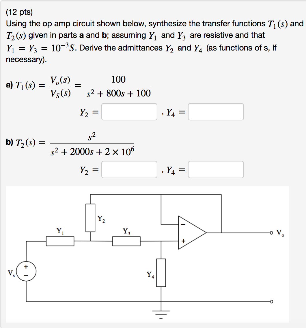 Solved Using The Op Amp Circuit Shown Below Synthesize T Diagram