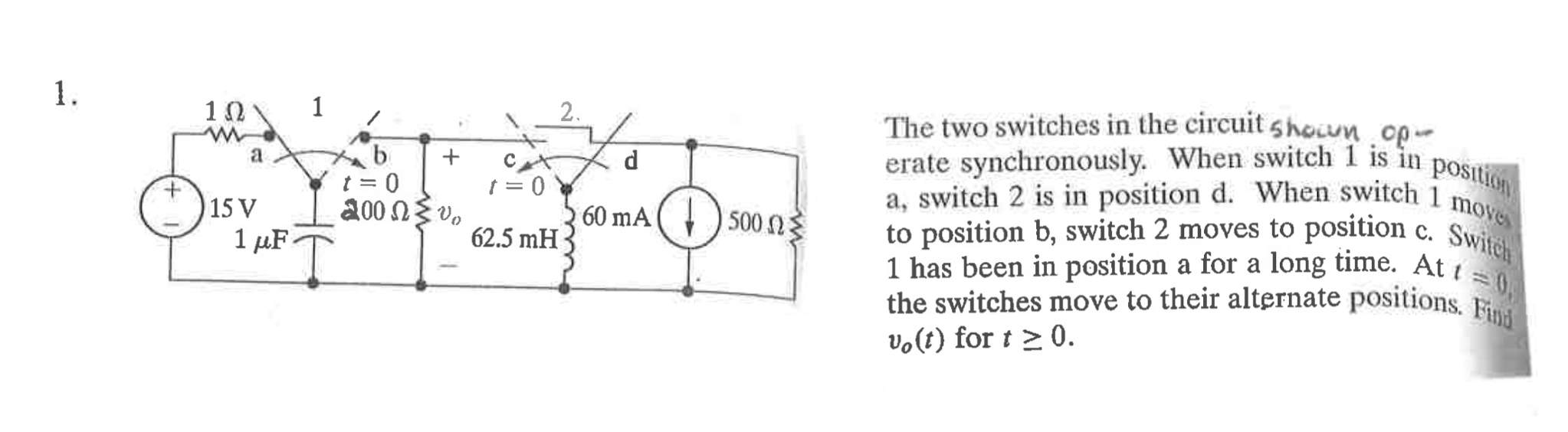 Solved: The Two Switches In The Circuit Shown Operate Sync ...