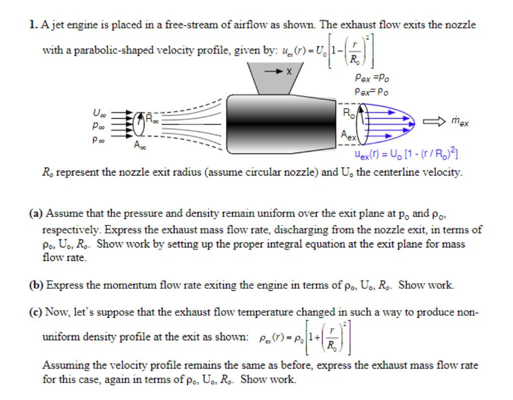 Solved A Jet Engine Is Placed In Free Stream Of Airflow Flow Diagram As Shown