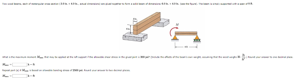 Question: Tw。wood Beams, Each Of Rectangular Cross Section 3.0 In × 4.0 N  Actual Dimensions) Are Glued Tog.