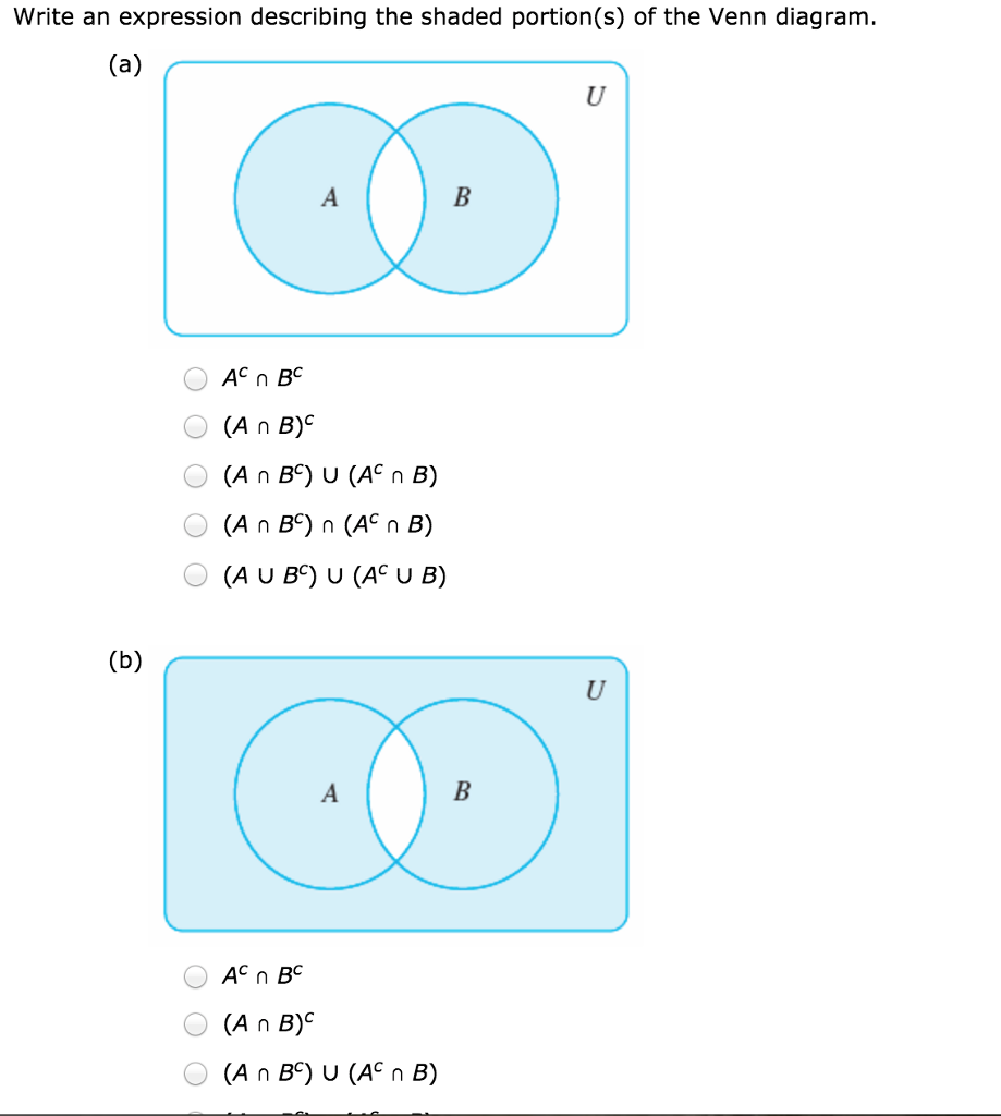 Write an expression describing the shaded portion chegg write an expression describing the shaded portions of the venn diagram pooptronica Gallery