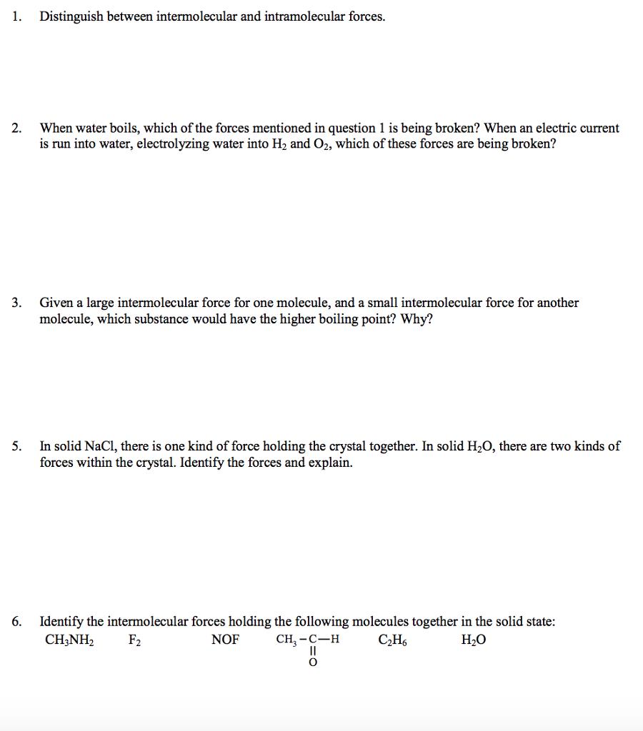 Solved: 1  Distinguish Between Intermolecular And Intramol